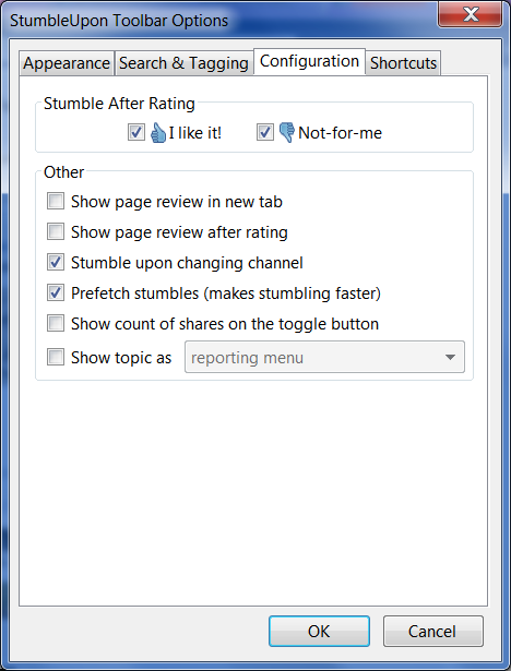 StumbleUpon Toolbar Options
