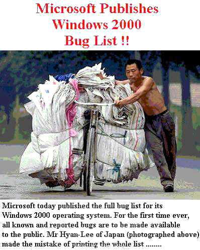 Microsoft publishes Windows 2000 bug list
