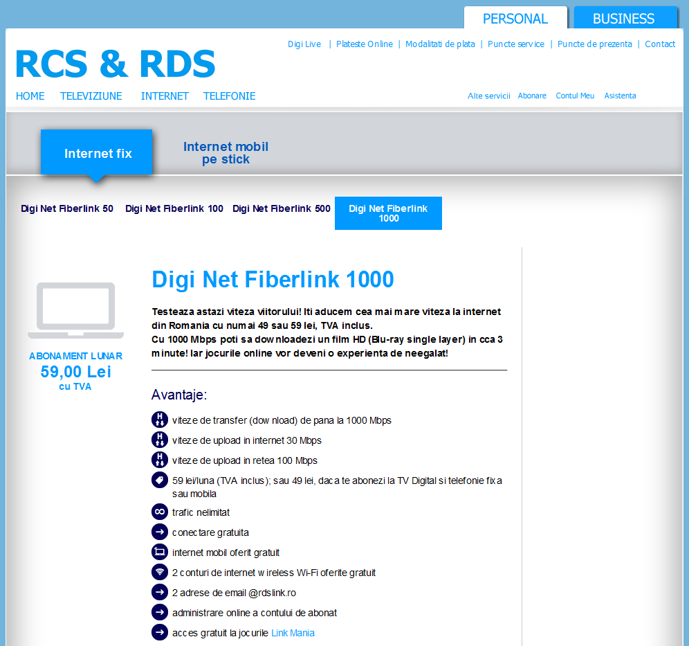 rcs-rds Internet pricing in Romanian