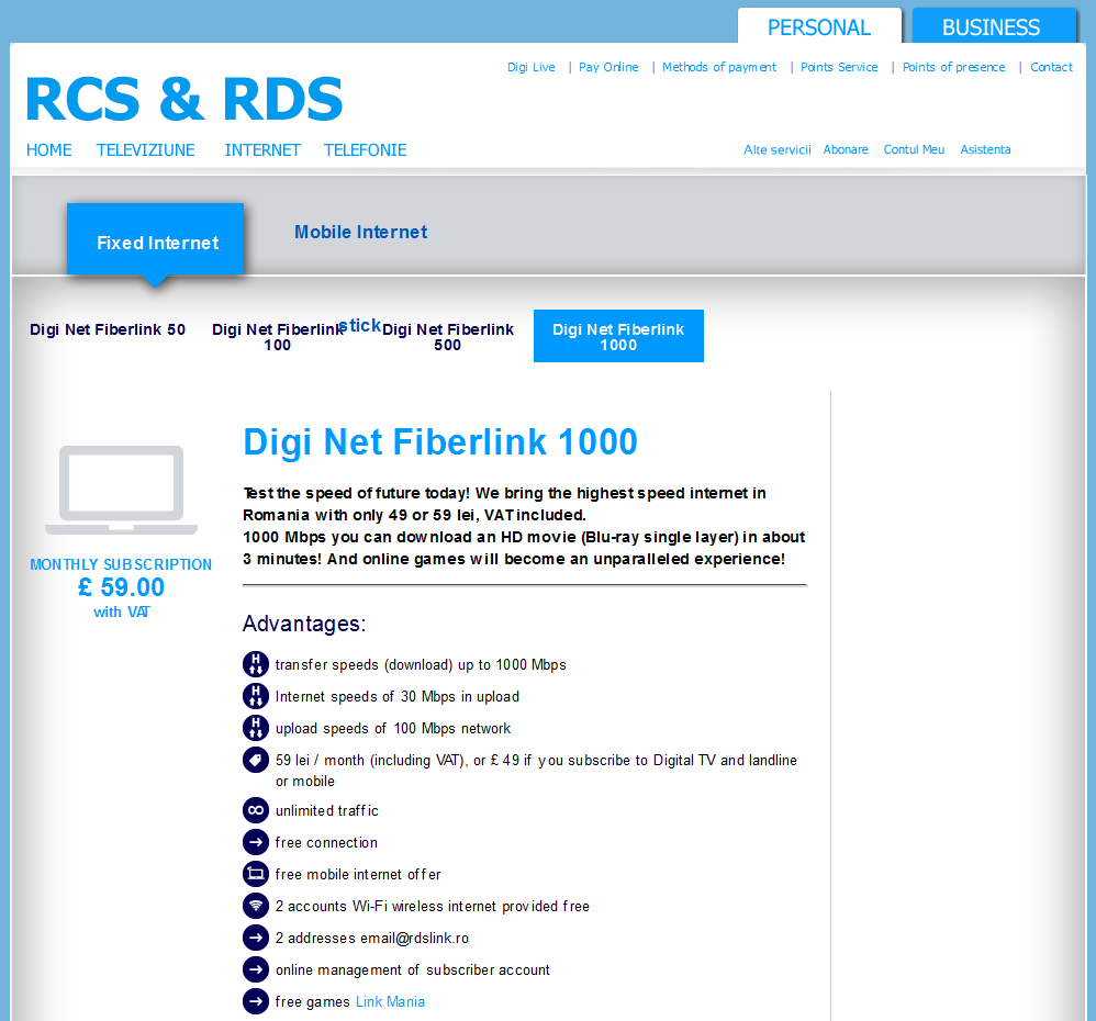 rcs-rds Internet pricing in English