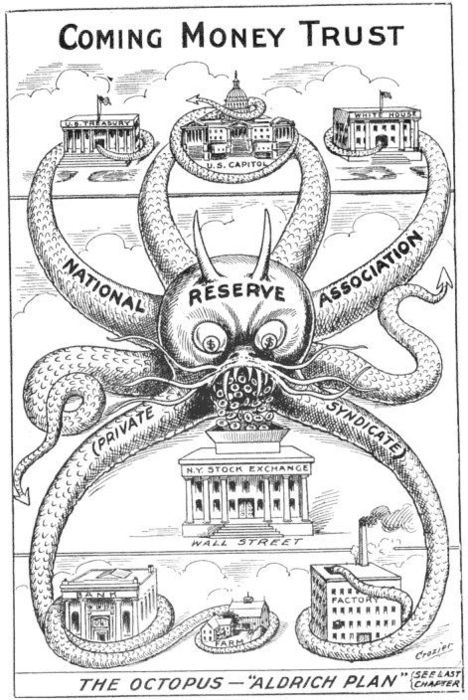 Political cartoon dealing with the 1912 Aldrich Plan to bring central banking to the United States, one year before the creation of the Federal Reserve. Amazingly accurate.
